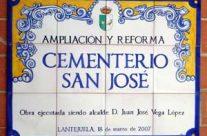 Rótulo para cementerio. Rótulo de cerámica para La Lantejuela. Sevilla