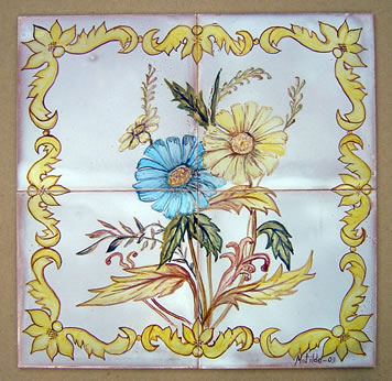 Murales cuadros de flores cer mica esmaltada cer mica - Murales de ceramica artistica ...