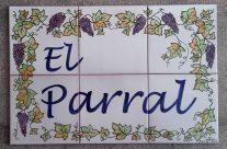 Placa cerámica con hojas de vid