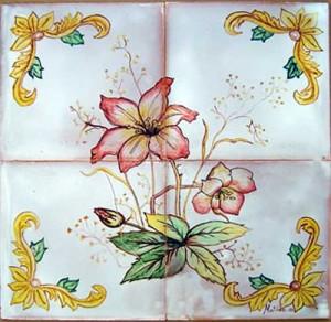 Cuadros Para Decorar.Cuadro De Flores Tonos Rojos Ceramica Artistica Matilde