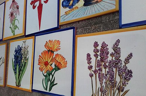Azulejos de plantas para fachada cer mica art stica - Azulejos con dibujos ...