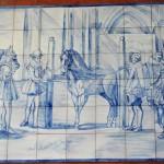 Mural de doma de caballos en azul cobalto